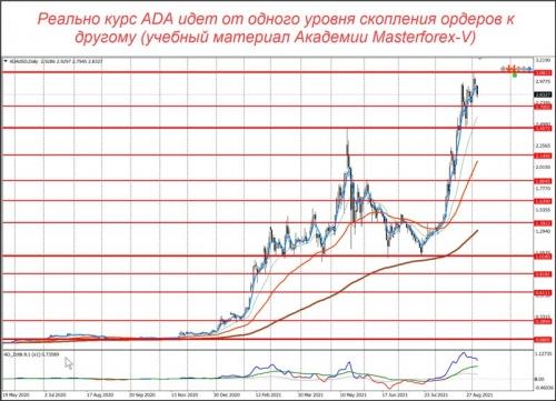Уровни маркетмейкеров по паре ADA/USD