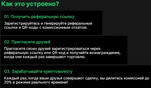 Реферальная программа криптобиржи Paritex