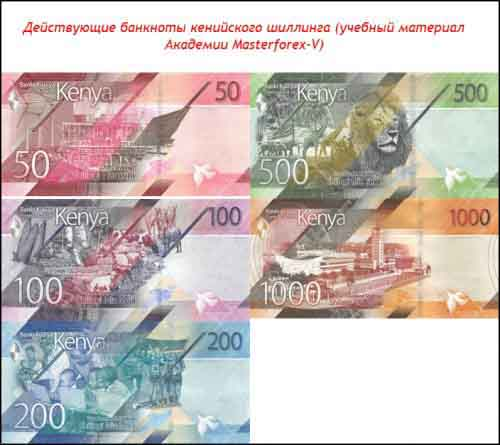 Банкноты кенийского шиллинга