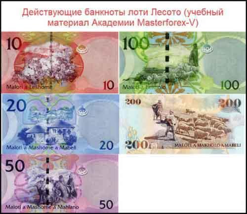 Банкноты лоти Лесото