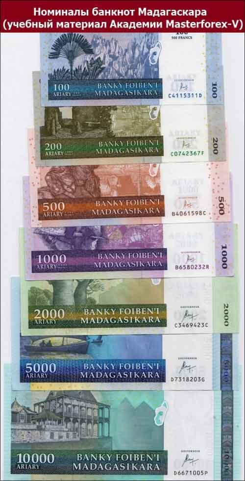 Номиналы банкнот Мадагаскара