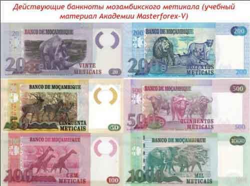 Банкноты мозамбикского метикала