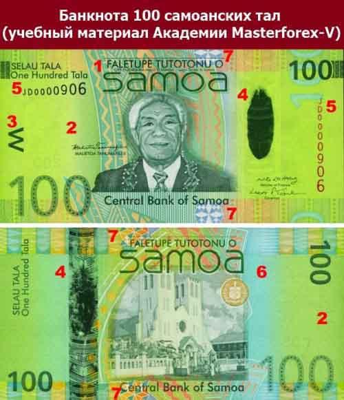 Банкнота 100 самоанских тал