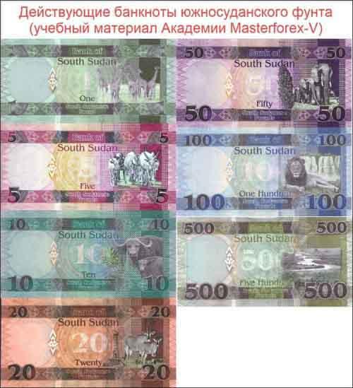 Банкноты южносуданского фунта