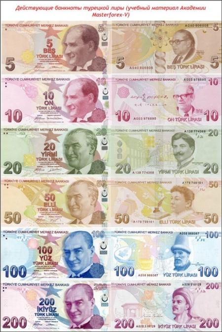 Действующие банкноты турецкой лиры