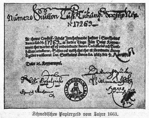 Первые в Европе бумажные деньги Банка Швеции